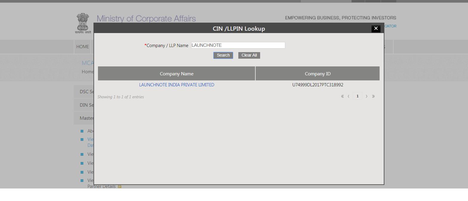 Search Company Name